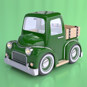 cartoon farm pick truck interior 3d model