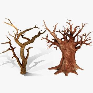 3D baobab acacia trees