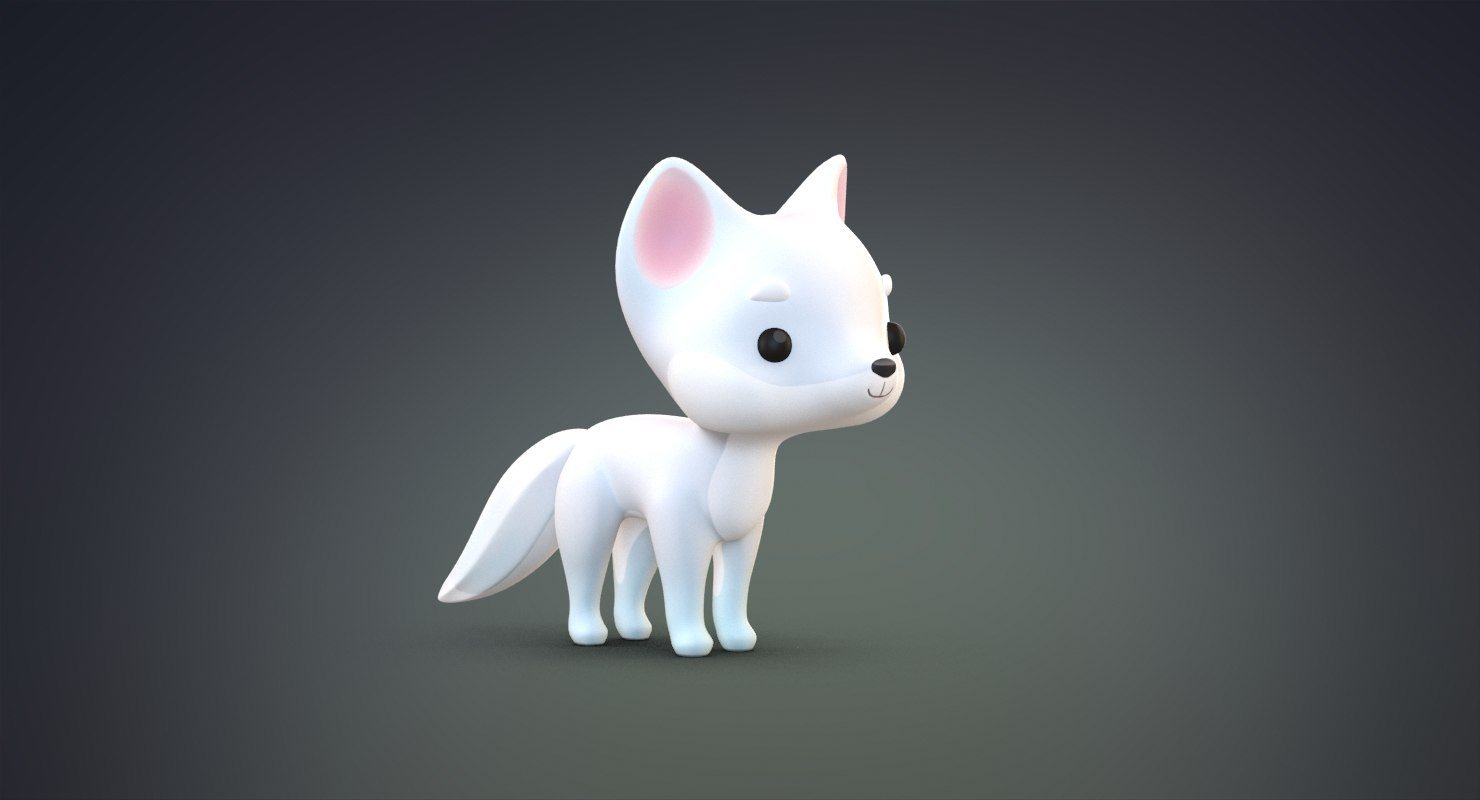 cute cartoon arctic fox 3D model