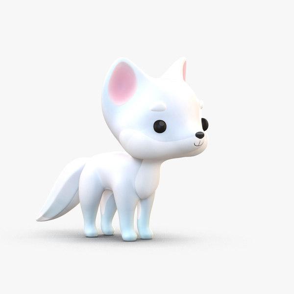 cute cartoon arctic fox 3D model