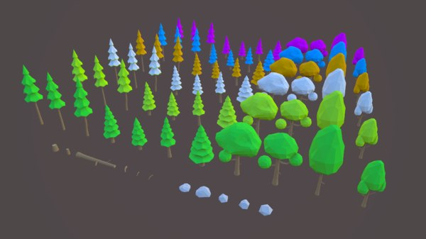 low-poly pack tree 3D model