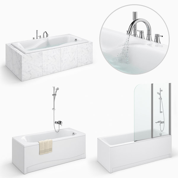 3D model set baths cersanit 25