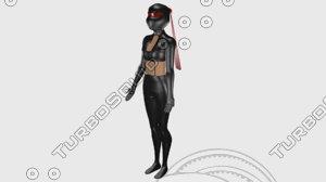 3D girl alpha version high-poly model