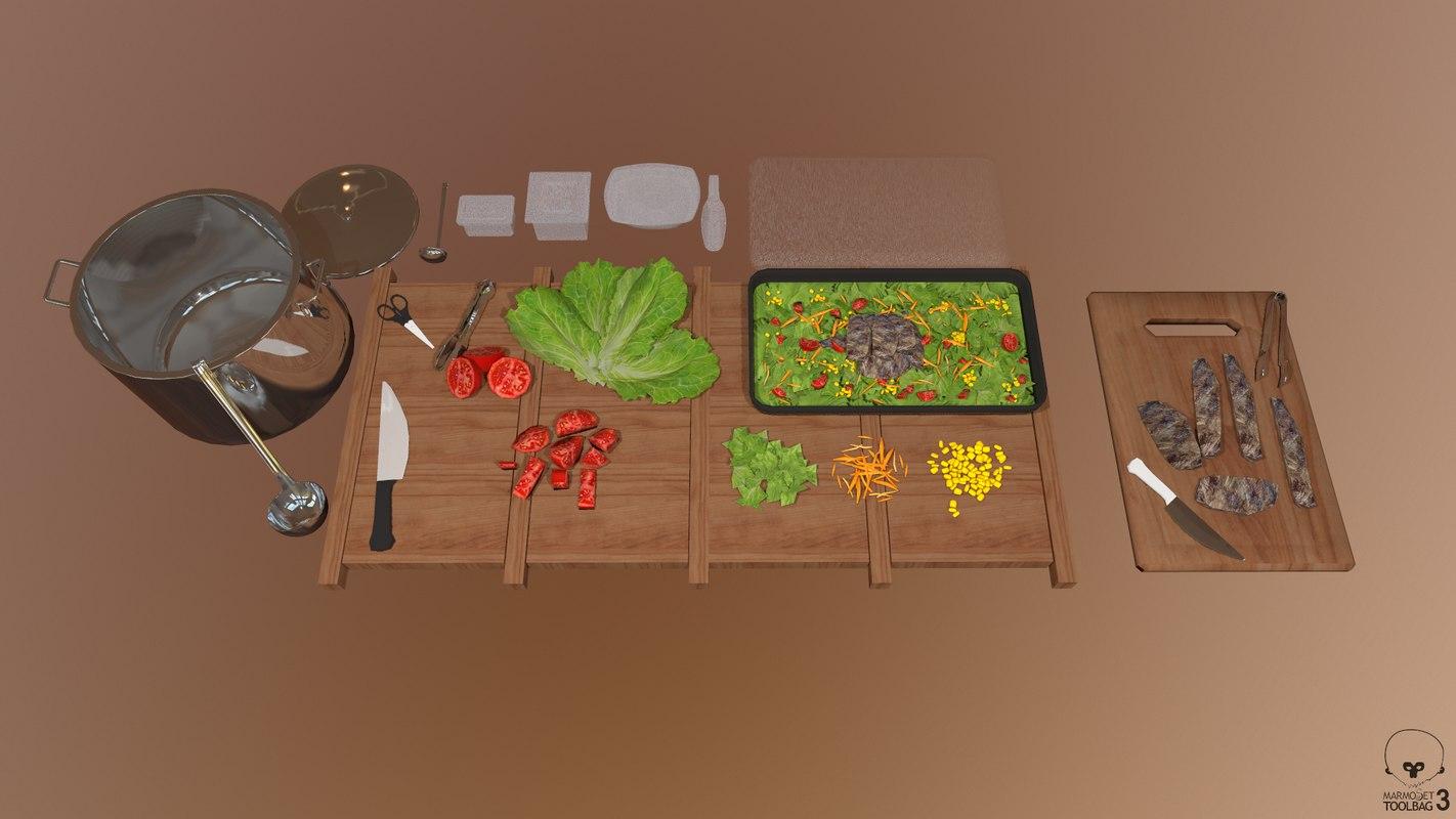 kitchen tools salad model
