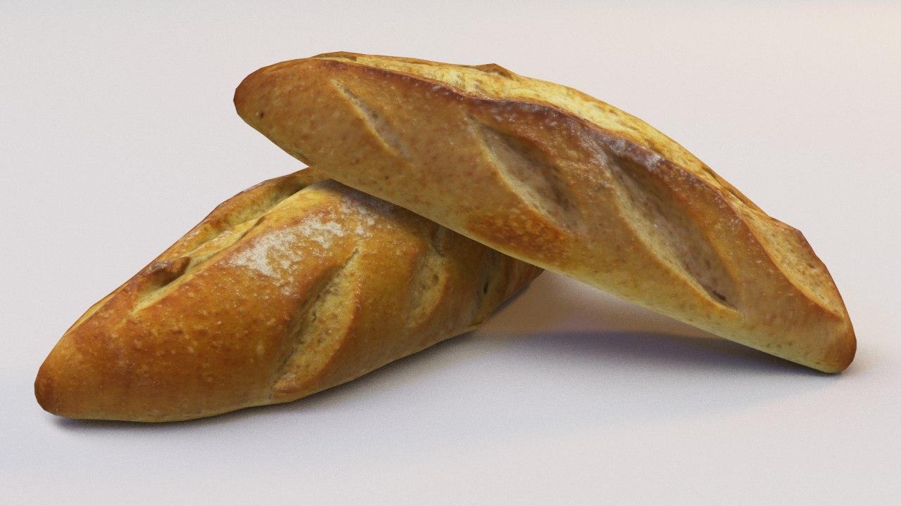 photoscaned bolillo bread ready 3D model