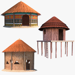 cottage african hut 3D model
