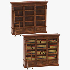 classical book shelves 3D model