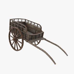 games medieval cart 3D model