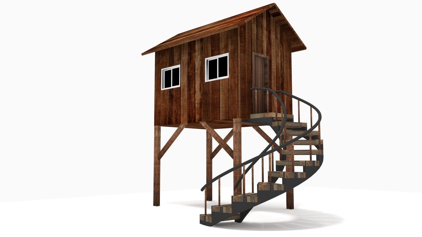 resort style wooden hut house 3D model