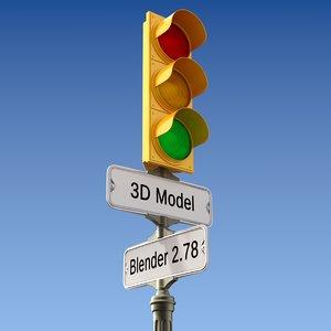light sign traffic 3D model