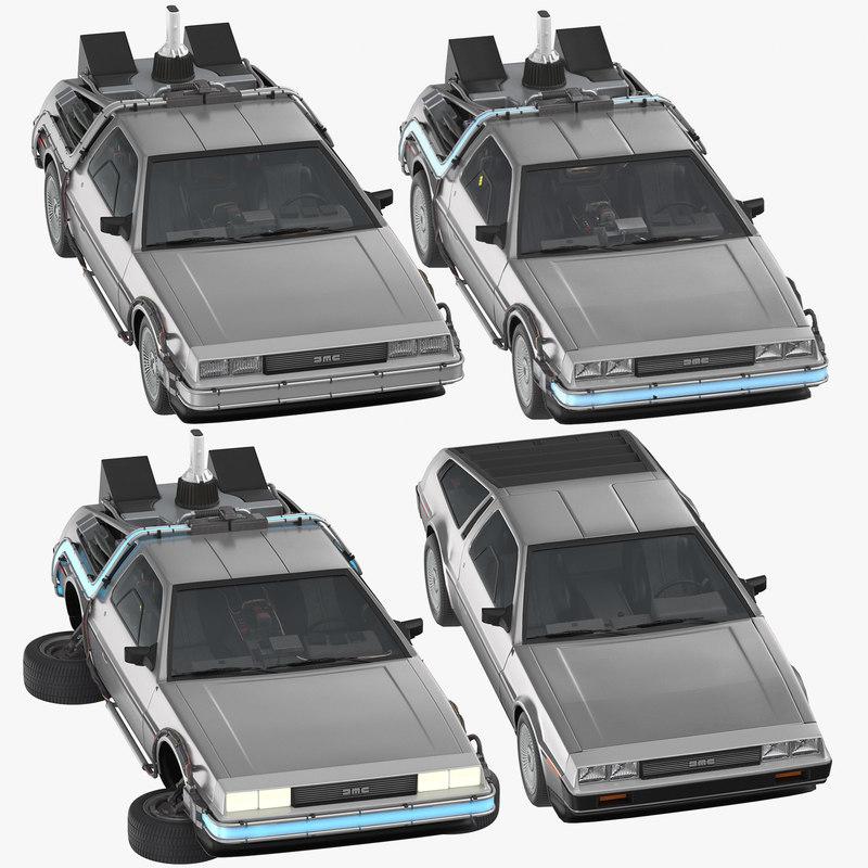 delorean 1 driving 3D model