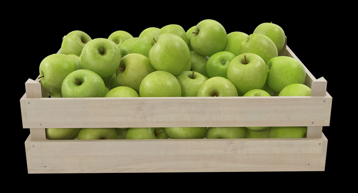 3D apple granny smith wooden crate
