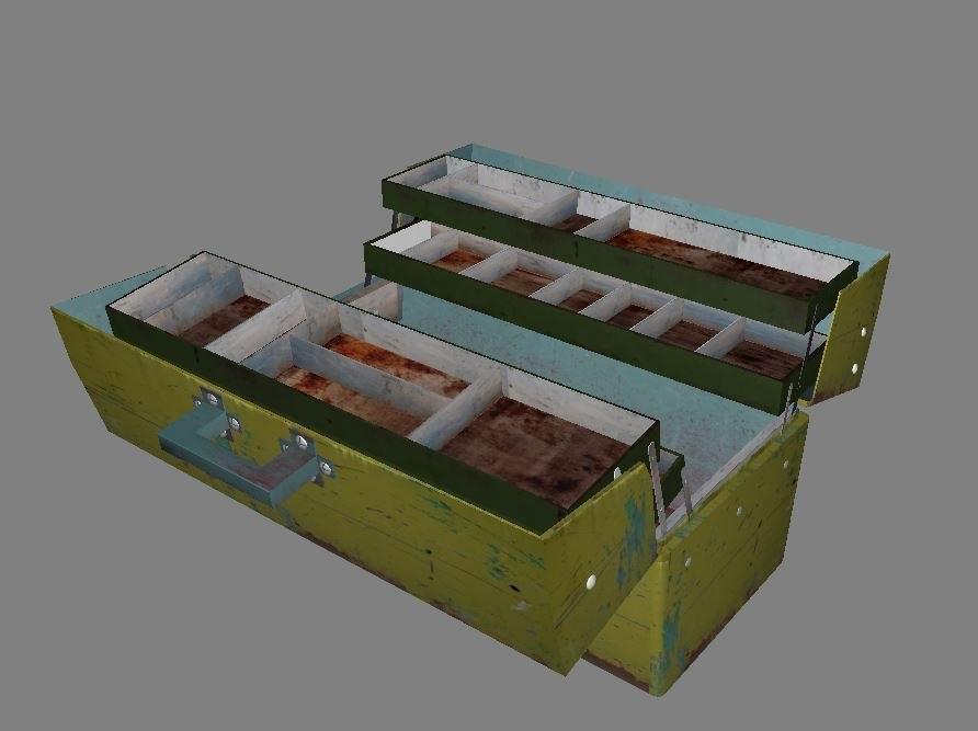3D old tool box model