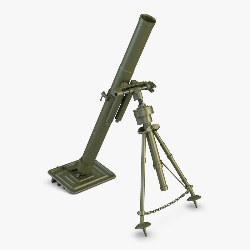 3D model mortar 82mm