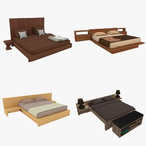 double wooden beds 3D model