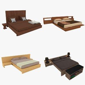 double wooden beds 3D model