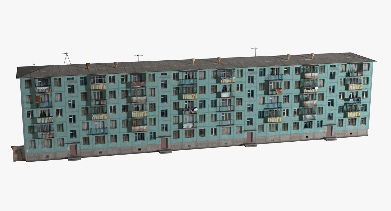 3D five-story apartment building