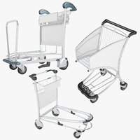 3D airport luggage trolley 01 model