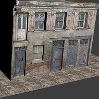 old building facade 3D
