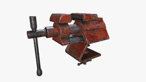 3D old vise tool pbr model