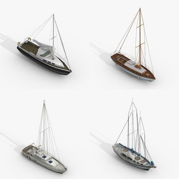 3D sailboats yachts model