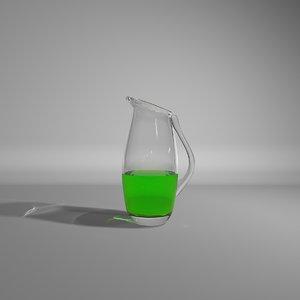 3dsmax glass jug green liquid