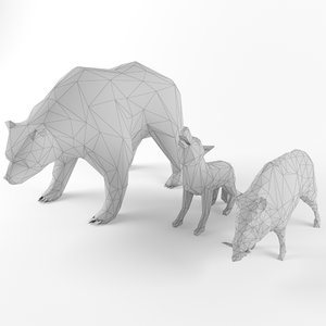 wild mammal animal set model
