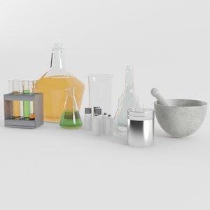 3D laboratory equipment items