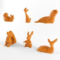 animal set pack rabbit model