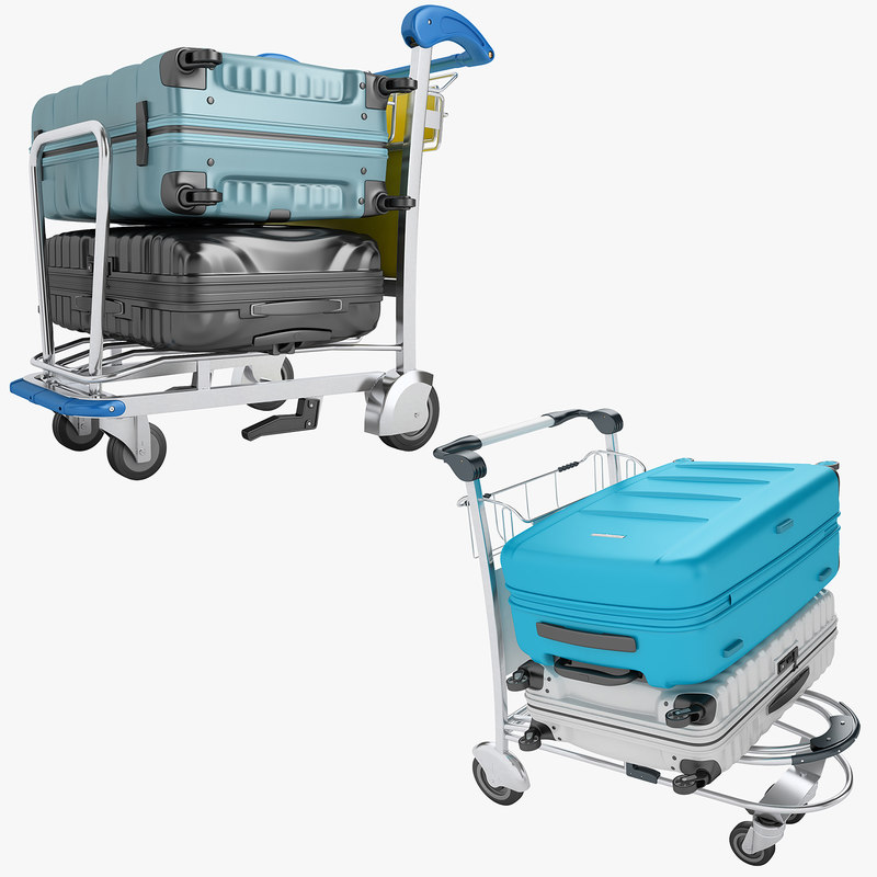 3D airport luggage trolley model