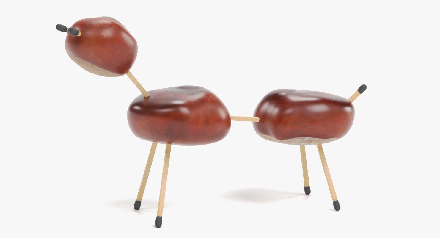 3D chestnut animal