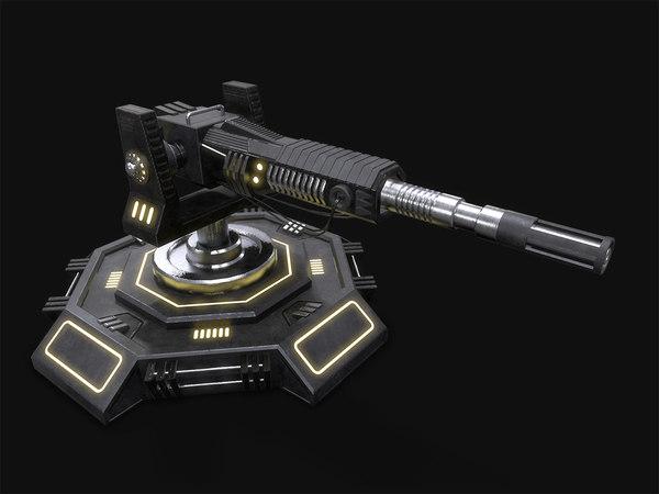3d model sci-fi turret