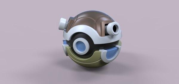 3D ball pokeball blastoise