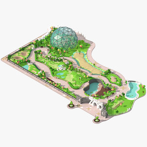 3D zoo trees shrubs model
