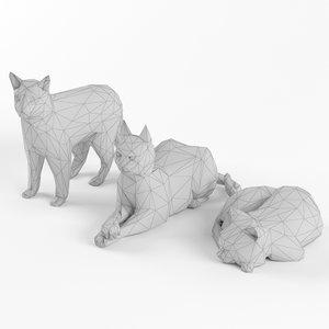cat set 3D model