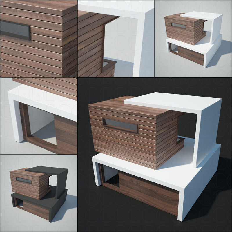 3D model modern architecture house cats