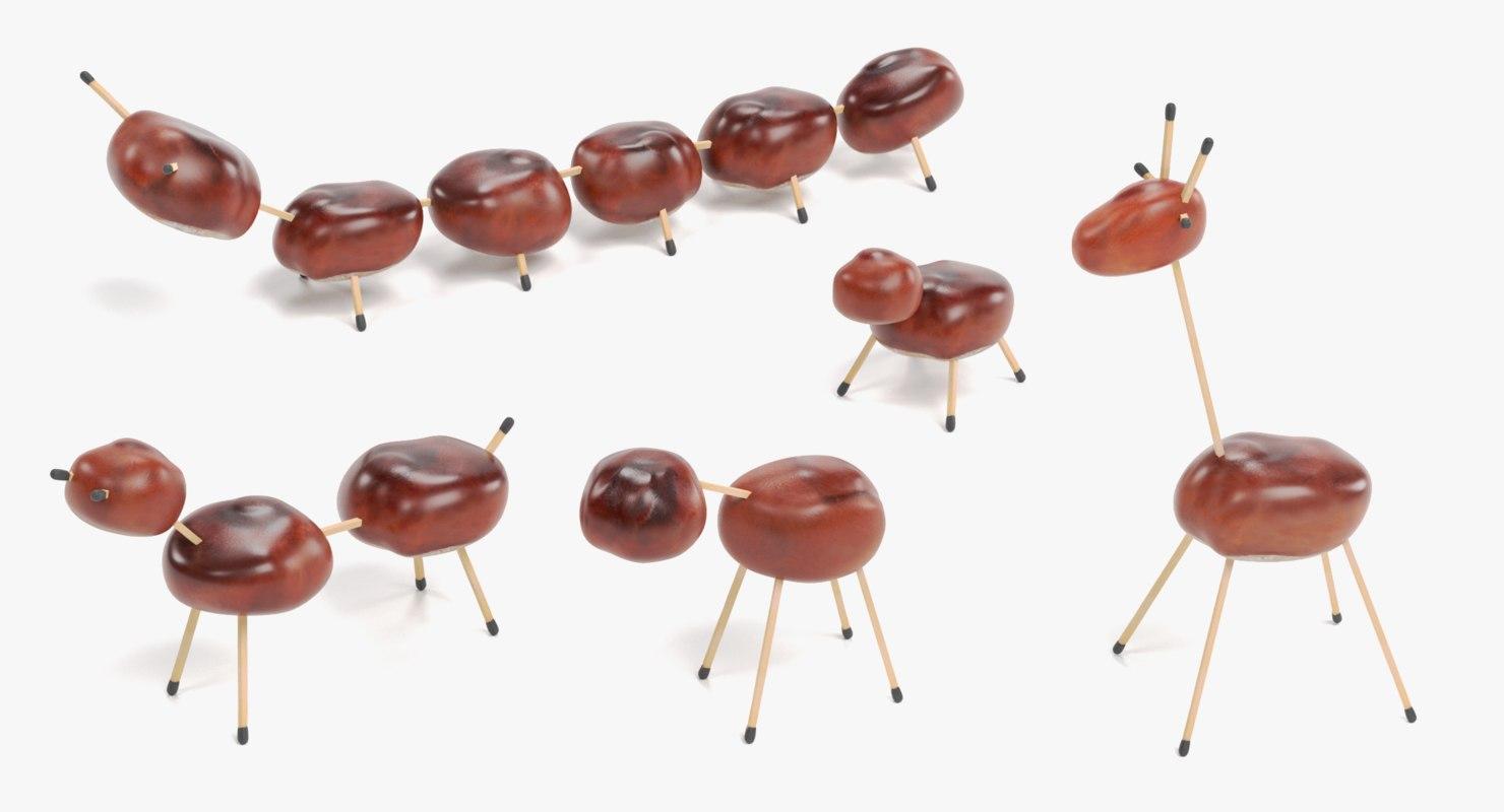 chestnut animals 3D