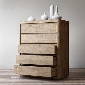 3D martens 5-drawer narrow dresser
