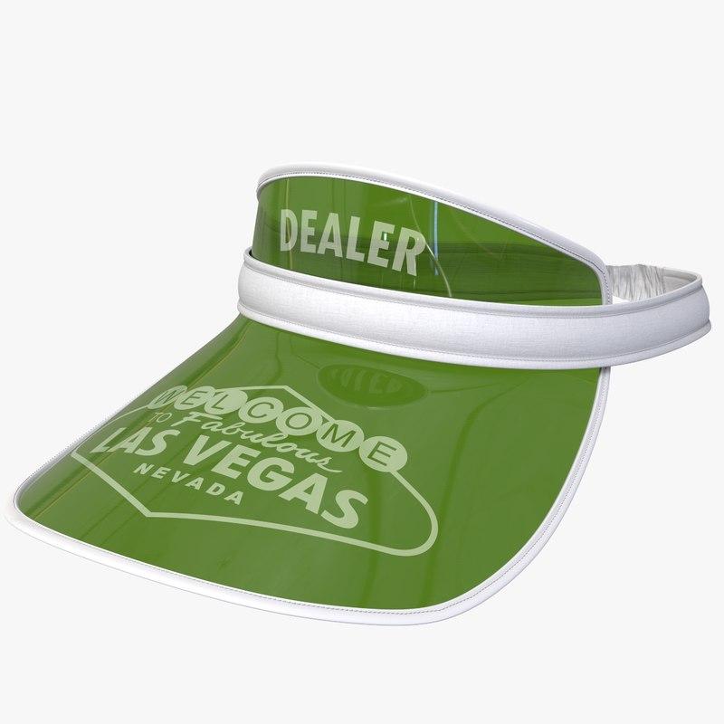 3D poker sun visor cap model