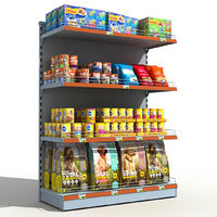 supermarket pets food shelves 3D model