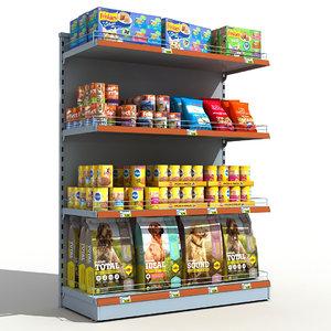 supermarket pets food shelves 3D model
