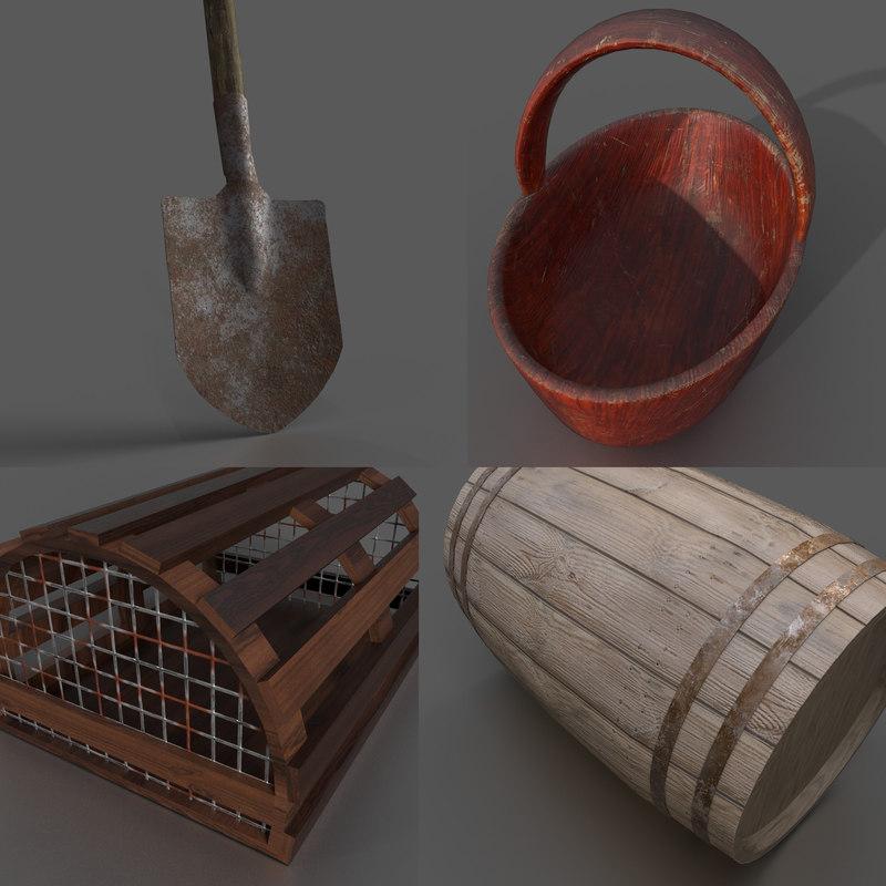 3D model vintage farmer tools