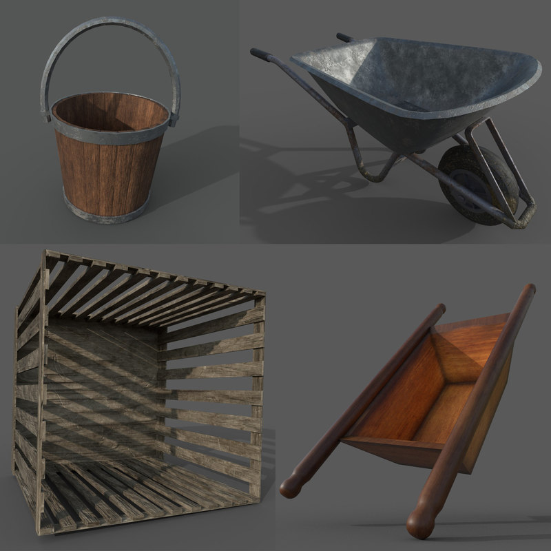 vintage farmer tools pack 3D