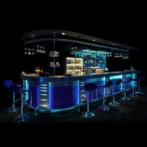 3D bar counter night club