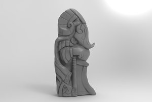 statue idol warrior ax model