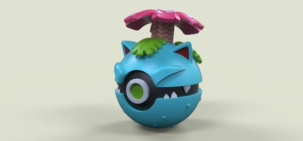 ball pokeball venusaur 3D model