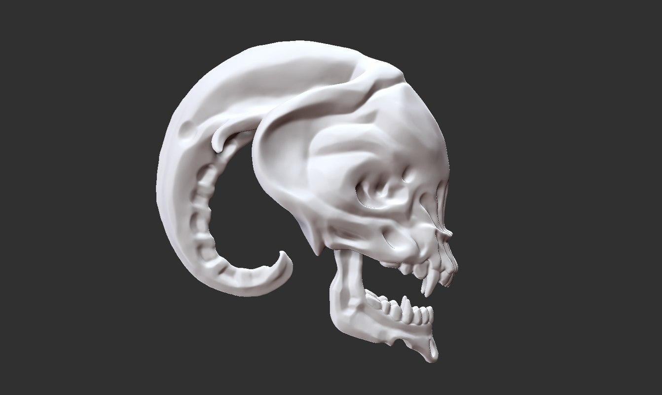 alien head skull 3D