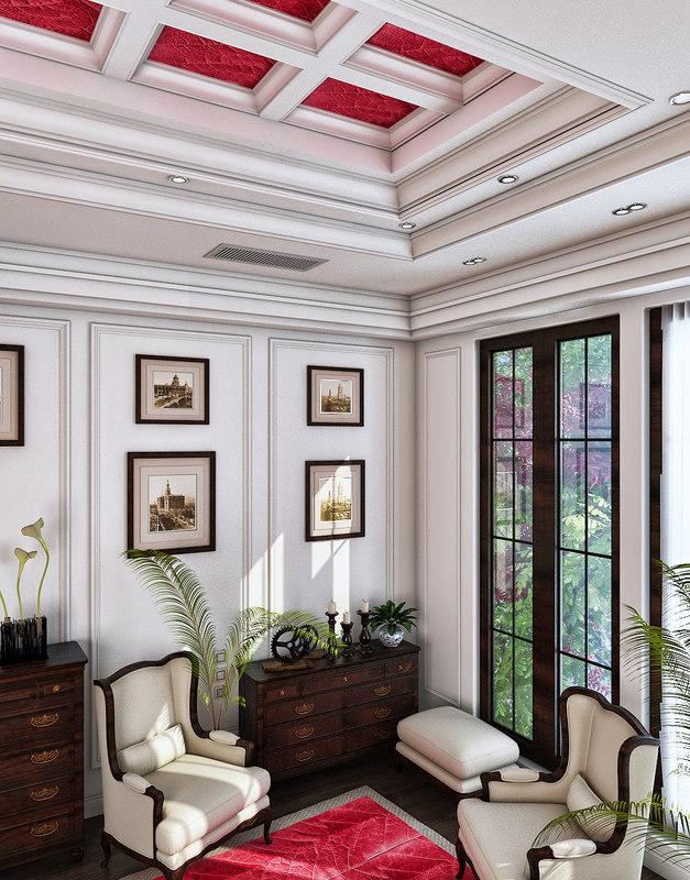 3D model classic sitting room
