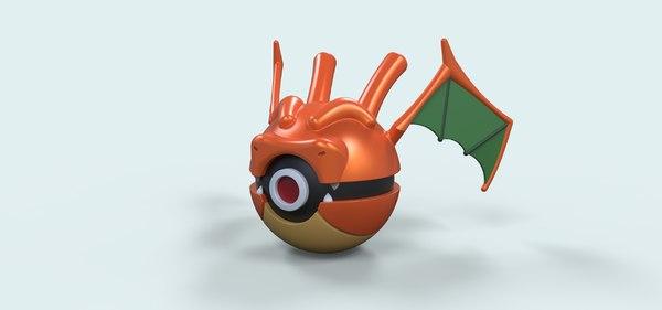 ball pokeball dragon 3D model