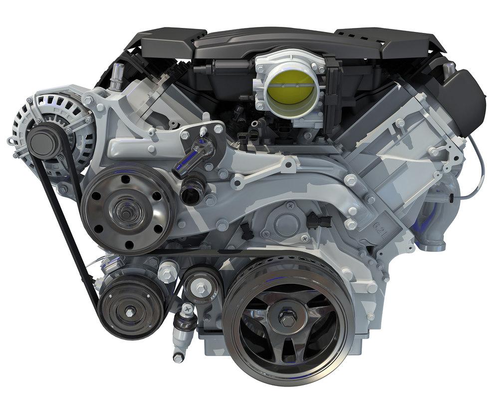 3D v8 engine semi interior